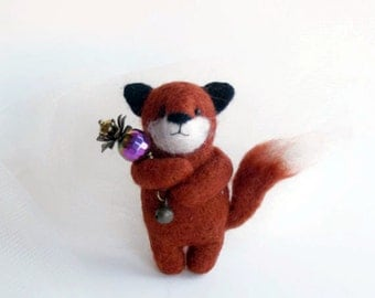 Little Fox with Flower Scepter , Felted Animal Brooch, Bear Jewelry