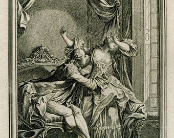 18th Century Risque Antique Engraving Richard Minutolo by Charles Eisen for the Tales of La Fontaine French Rococo, Antique Sensual Art