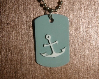 Nautical Anchor's Away Dog Tag Necklace