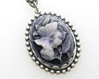 Floral Butterfly Cameo on Dark Purple Background - Antiqued Silver