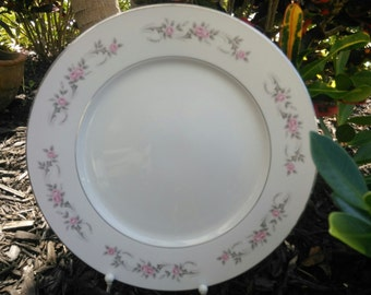 "Vintage Diamond China, Made in Japan, 12"" Chop Plate, Round Platter, Pageant Pattern"