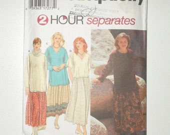 Vintage Simplicity 1995 Misses Loose Fitting Pullover Tops And Pull On Skirt  2 Hour Separates UNCUT Size XS-M Pattern Number 9802
