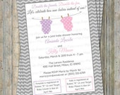 Joint Baby Shower Invitation, polka dot onesies, Two girls, Pastel Purple and Pink Digital, Printable file
