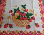 Two Vintage NOS STRAWBERRY Linen Kitchen Dish Towels - Pair of Dish Towels with Strawberries and Flowers