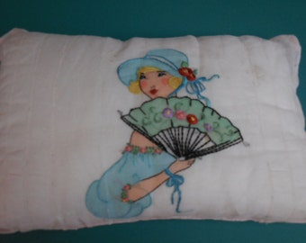 Unique Vintage Birth Certificate PILLOW with Beautiful Embroidered Lady