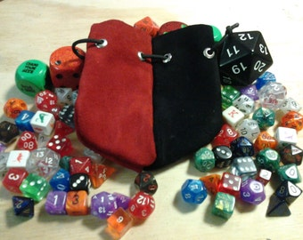 Red and Black leather dice bag