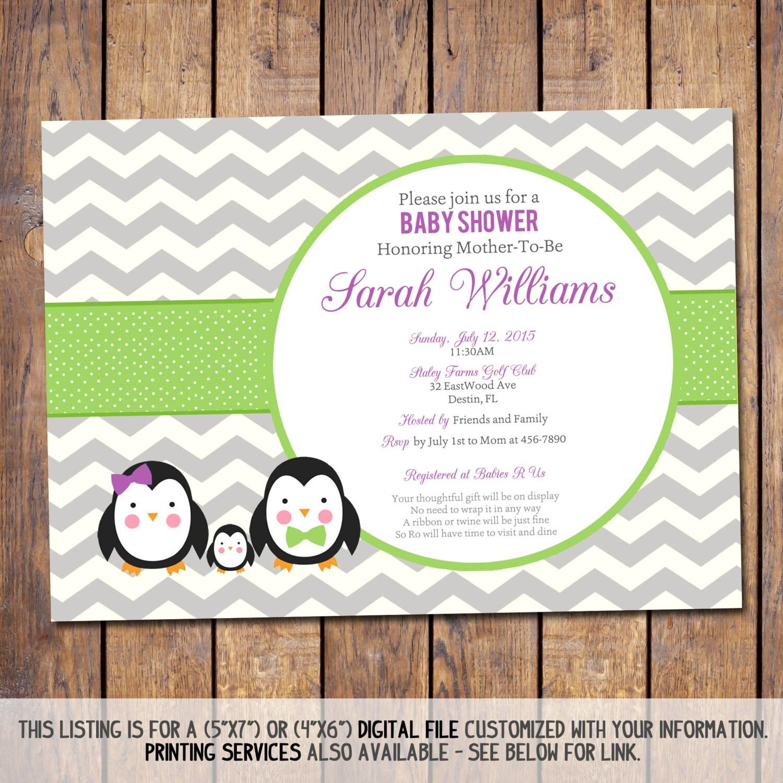 chevron baby shower invitation penguin baby shower invitation