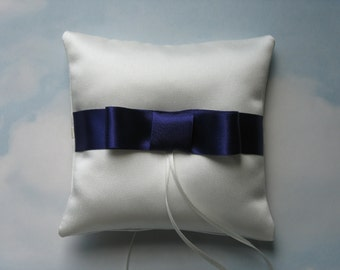 Wedding ring cushion. Satin bow ring pillow for weddings.
