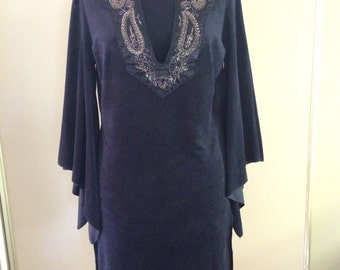 Black Faux Suede Embroidered Tunic