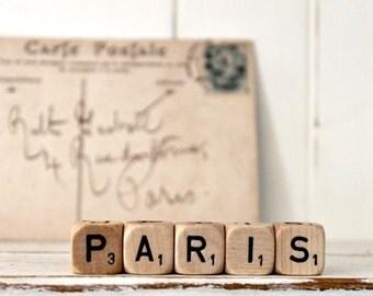 Vintage Letter Cubes PARIS