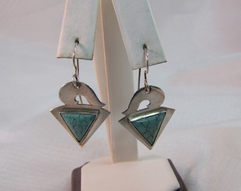 Vintage Great Falls Metal Works Sterling and Turquoise Earrings