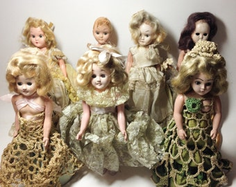 1940's Marcie Dolls creepy prop or restoration project. Lot of 7. Instant collection.
