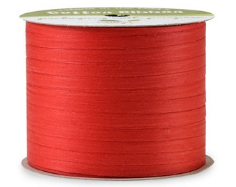 "50yds x 3/16"" Bright Red Cotton Curling Ribbon Natural Eco-Friendly (Free Shipping!)"