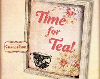 Vintage Tea Party Table sign A4/letter 8 x 11.5 print, digital party decoration, vintage party decor sign