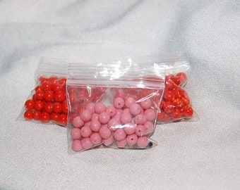 1.4oz  Vintage Pink and Coral Colored Beads