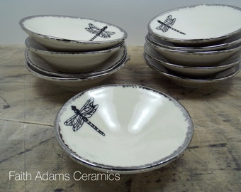 Bridal Bundle: 10% Off! 25 Dragonfly Tiny Bowls- White & Silver Porcelain Jewelry Dish, Ring Dish-Wedding Favor, Bridesmaid Gift