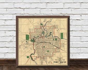 Fort Wayne map -  Vintage map of Fort Wayne fine print