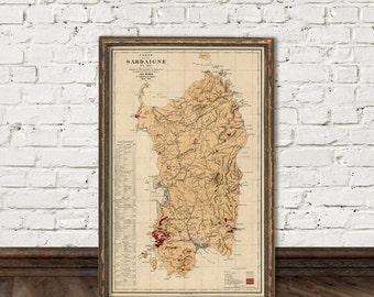 Sardinia map - Old map of Sardinia (Italy) - fine reproduction