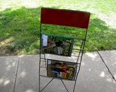 Easel newspaper rack collapsible rack for magazines towels vintage industrial