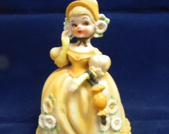 Lefton girl with parasol figurine one of series yellow dress vintage