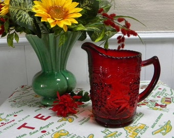 Imperial glass pitcher ruby red vintage grape pattern