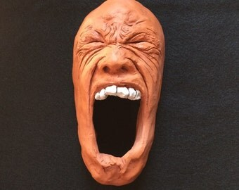 Ceramic Face Wall Sculpture -- Furious Tribal