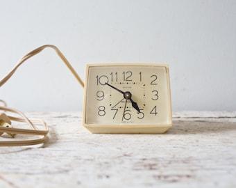 Vintage Retro White Alarm Clock Westclox Alarm Bedside Clock Plug In Works Great Ivory