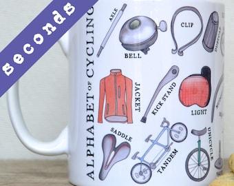 SECONDS - Cycling Alphabet Mug - gift for bike lover - cyclist mug - mug for cyclist - bike mug - A-Z of cycling