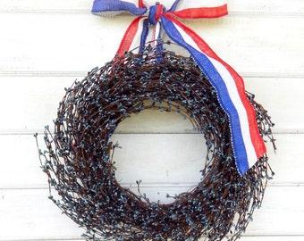 4th of July-Summer Wreath-PATRIOTIC BLUE Wreath-Americana Wreath-4th of July Door Wreath-Summer Home Decor-Scented Wreath-Custom made USA