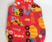 Hot Water Bottle Cover - Dark Red Polar Fleece with a Truck and Digger print