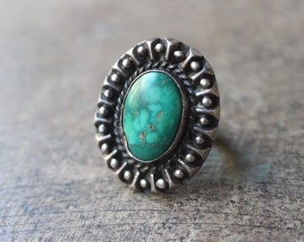 Early Turquoise RING / 1950's Jewelry / Sterling Silver Tourist Era Ring
