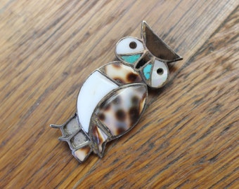 Owl Brooch / Vintage Southwest Bird Jewelry / Sterling and Multi Stone Inlay Pin