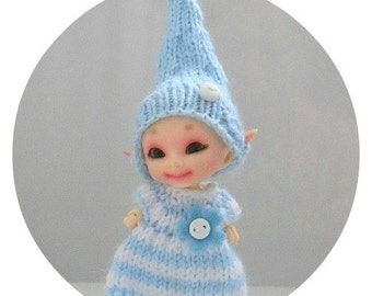 Baby Blue Stripe Knitted Dress and Elf Hat for Fairyland Realpuki