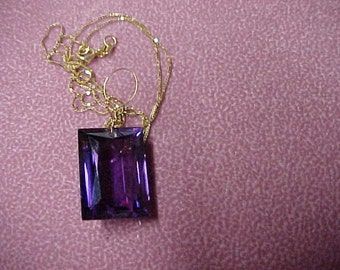 """Vintage Amethyst Solitaire Pendant, Emerald Cut, 14.5 Carat. 18MM x 14MM, 14K Yellow Gold Wiring and 18"""" Chain"""