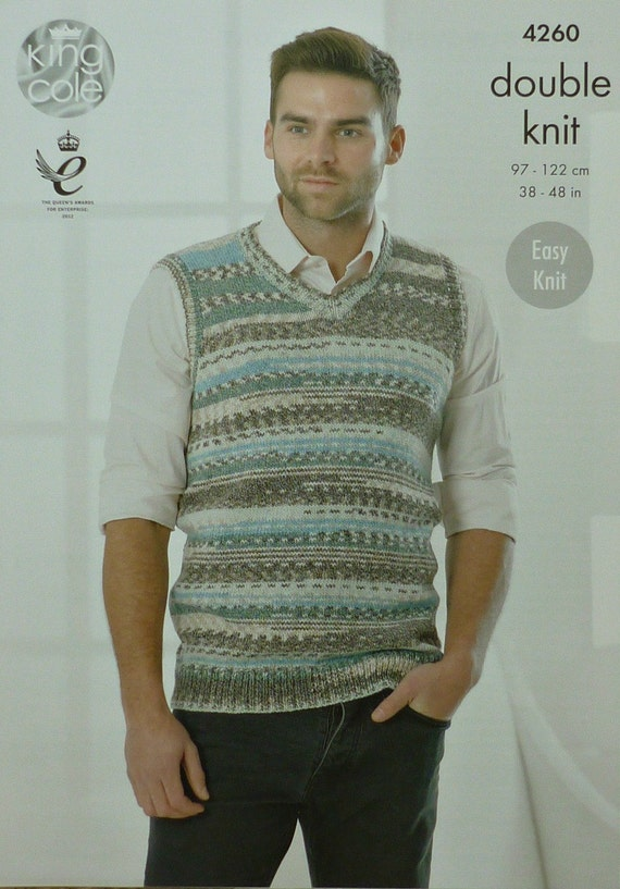 Knitting Pattern V Neck Sleeveless Jumper : Mens Knitting Pattern K4260 Mens Sleeveless V-Neck Easy Knit