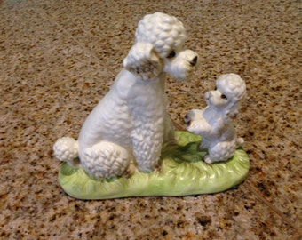 Ceramic Poodle dog  with her puppy enesco  figurine