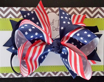 """Large 5"""" 4th of July, Patriotic, Red White and Blue Hair Bow with Blue Rings"""