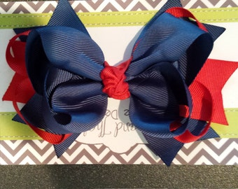 """Large 5"""" Boutique Navy and Red Hair Bow"""