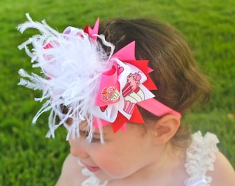 Cupcake Birthday Hair Bow -  Cupcake Birthday Headband - Birthday Hair Bow