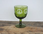 Vintage Green Glass Goblet with White Peace Sign Symbol 1970s