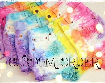 CUSTOM MADE Vintage RAINBOW Tie Dyed Denim High Waist Cut off Shorts