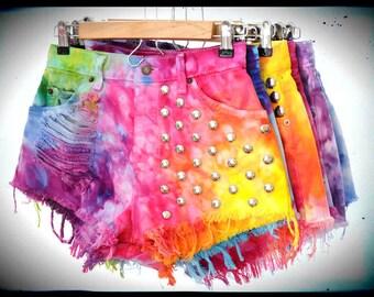 CUSTOM MADE Vintage Rainbow Marbled Dyed Denim STUDDED High Waist Cut off Shorts