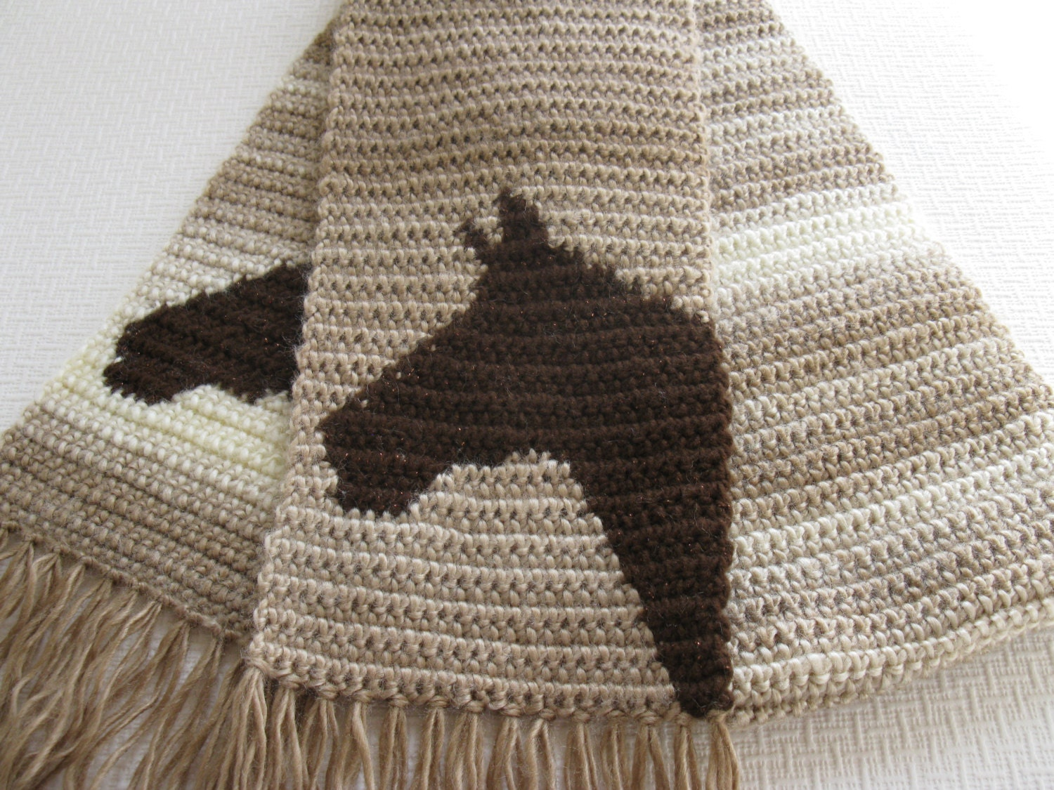 Horse Scarf. Brown ombre crochet scarf with horse by hooknsaw