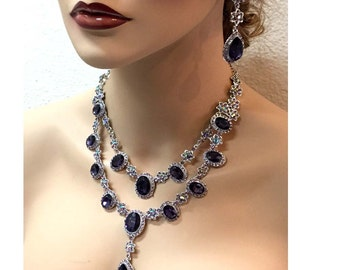 Wedding jewelry set, vintage inspired purple crystal necklace statement earrings, purple crystal jewelry set, formal jewelry , party jewelry