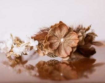 Boho Flower Crown - Flowergirl hairpiece - Wedding - Newborn Photo Prop - Wedding Crown - Floral Hairpiece