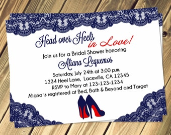 Head Over Heels Bridal Lingerie Shower Invitation Pick Your Own Color Print Your Own