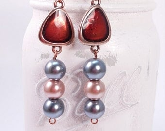 Copper maroon, grey and pink dangle earring