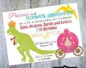 Dinosaur and Princesses Birthday Party Invitation Printable Invite by Luv Bug Design