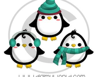 Chibi Penguin trio, set of three, adorable Clipart and graphics