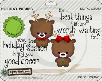 Chibi Reindeer boy and girl, Winter, Christmas, adorable Clipart and graphics